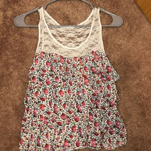 Floral ruffled tank top with a white lace top!